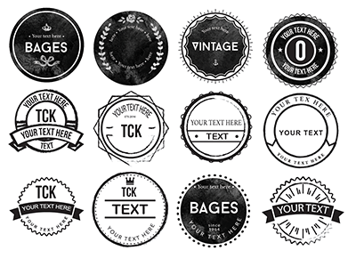 20 Rounded Rough Badges - Free!