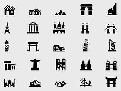 Building & Landmark Icons Free ai vector landmark building freebie icons free