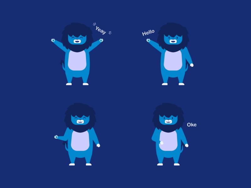 Blue Lion cute illustration design mascot animal illustration animal illustration