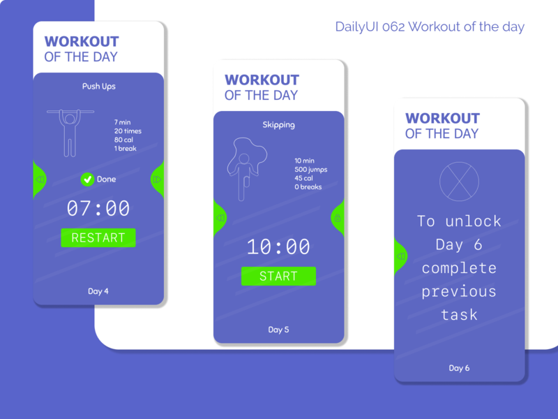DailyUI 062 - Workout of the day workout 062 app fitness sports aftereffects photos mobile design mobile app ui uxui ux dailyui