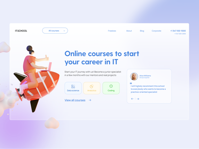 Online education concept first screen education minimal web service typography services illustration first screen ui concept