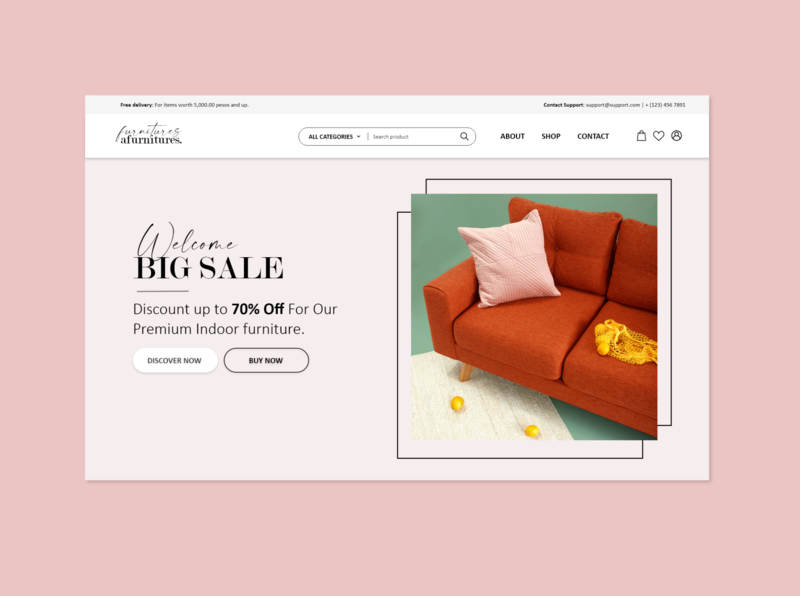 Ecommerce Landing Page  - Furniture Shop illustration front-end development webdesign design web landingpage minimalist furniture store