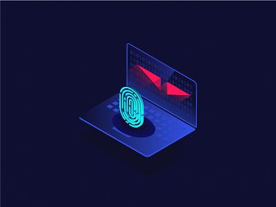 Identity theft isometric 3d vilcu radu neon dark alert virus theft identity