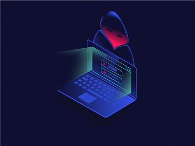 Malware 3d isometric alert vilcu radu neon virus theft protection identity malware