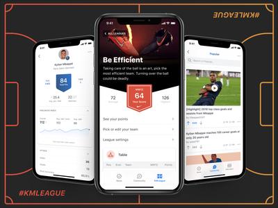 Kylian Mbappé App app community mbappé football league football app ios ui ux fantasy sports mobile design product design mana studio fantasy football fantasy football mobile soccer km