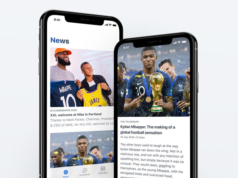 Football News 🗞 fantasy sports football app soccer football ios newsfeed feed kmleague community news clean ux ui mobile design app mbappé kylian mbappé kmbappe km