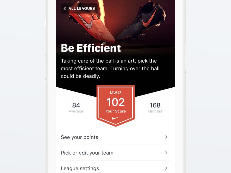 Fantasy League ⚽️ community mobile design product design score team fantasy football fantasy football soccer sport ios clean ux ui mobile app kmleague kmbappé kylian mbappé km