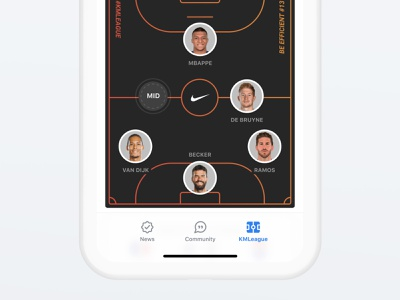 Fantasy Line-up sport fantasy players nike pitch custom playground product design clean ux ui ios mobile app mbappé kmbappe kylian mbappé kmleague km