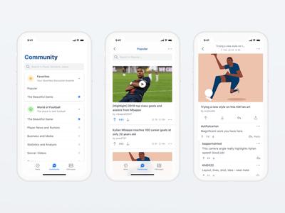 Kylian Mbappé App ios card thread reply discussion product design upvote community conversation clean ux ui app mobile football soccer mbappe kylian mbappe kmbappe km