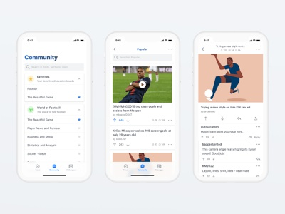 Kylian Mbappé App ios card thread reply discussion product design upvote community conversation clean ux ui app mobile football soccer mbappe kylian mbappe kmbappe km