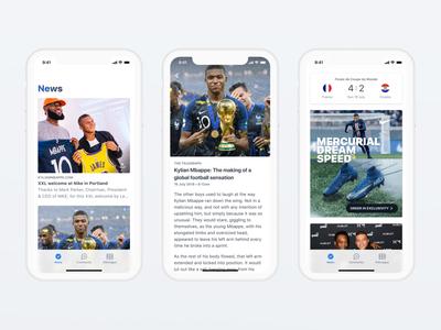 Kylian Mbappé App sport mana studio product design typography community card feed newsfeed news ios ux ui app mobile football soccer kylian mbappe mbappe kmbappe km