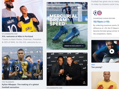Kylian Mbappé Cards newsfeed feed ios fantasy sports mana studio design product design ux ui app mobile cards news football soccer kylian mbappe mbappe kmbappe km