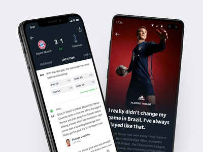 Onefootball App typography design branding news game match feed live ticker live ticker android ios app mobile soccer football onefootball