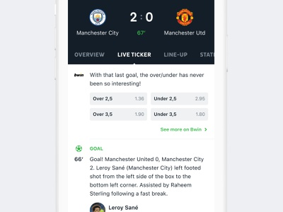Onefootball app football app community app design clean ux ui mobile bwin bet ticker live feed sport soccer football onefootball
