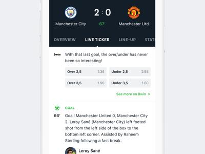 Onefootball app football app community app design clean ux ui mobile bwin bet ticker live feed sport soccer football onefootball