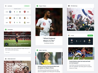 Onefootball app branding community feed newsfeed match game news fixture components card clean ux ui design app mobile soccer football onefootball