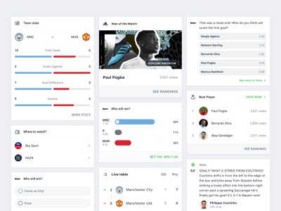 Onefootball App ticker live news table mixture bet chart stats poll component card ux ui clean design mobile app soccer football onefootball