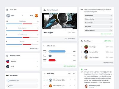 Onefootball App ticker live news table mixture bet chart stats poll component card ux ui clean design mobile app soccer football onefootball
