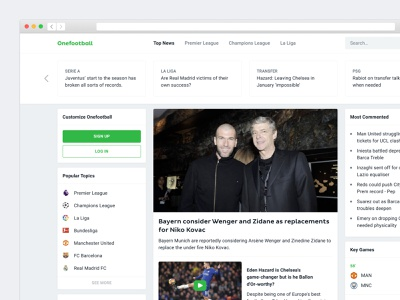 Onefootball Website community mana studio landing page homepage component cards championships mixture table newsfeed match game news website desktop app soccer football onefootball
