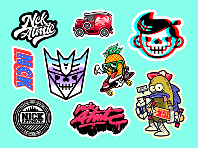 Nick Automatic Sticker Pack Vol. 1 spongebob funny transformers slaps animate sticker pack stickers sticker cartoons clothing vector drawing art brand illustration design