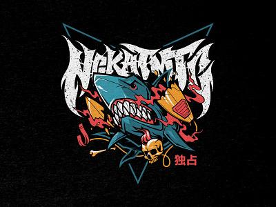 Shark Attack   T-Shirt Design illustration shark week merch design for hire tshirt design design tshirt shark