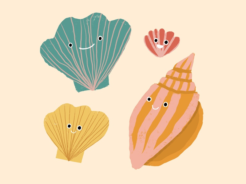 happy sea shells sea sea life design procreate illustration sea creature marine life sea shells shells