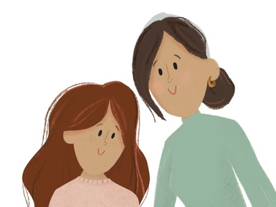 Close Up of Mom & Daughter character designs character design daughter mom procreate design illustrator illustration