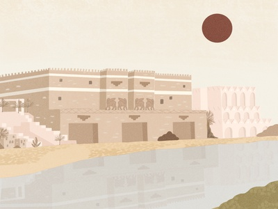 Neo-Assyria neoassyria ancient world ancient assyria church design design illustrator illustration