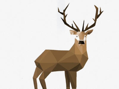 Geometric Deer lopoly deer illustration tayasui sketches drawing polygon facet