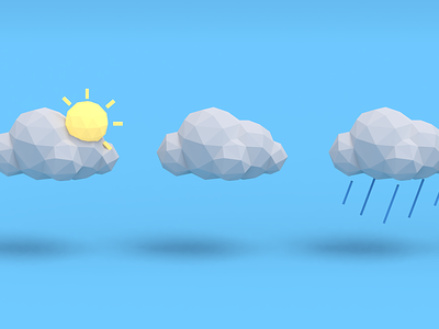 Weather icons blue sun cloud icons weather blender 3d