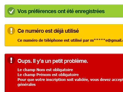 Accessible Notifications ui error notification green yellow red