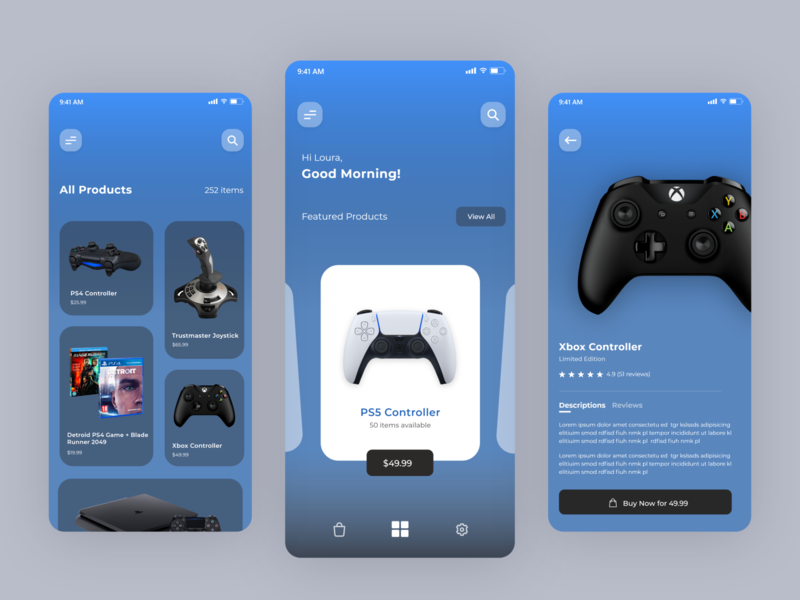 Gaming E-commerce Mobile App illustration adobexd photoshop ux ui mobile design appdesign adobe xd uiux