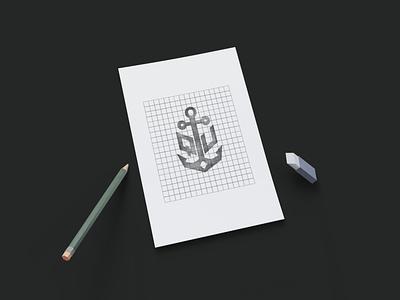 Logo SKETCH- ANCHOR anchor logo ship logo iconic logo creative logo adobe illustrator logo concept logo idea identity brand designer design logo app design art sketch