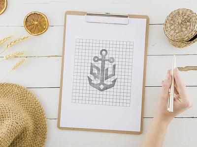 SKETCH- ANCHOR design art design icon iconic logo logodesign logo logo identity wordmark logo lettermarklogo sea logo ship logo anchor logo boatlogo boat anchor sketch
