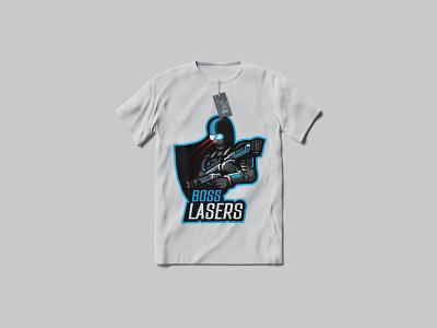 T-shirt Design- Boss Lasers vector art 3d gaming logo mascot logo 3d mascot 3d logo gaming brand game logo gaming logo branding brand logo adobe illustrator design logo illustration business logo professional logo