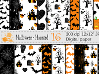 Halloween Digital Paper with Haunted House