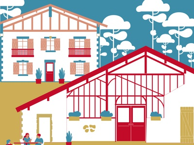 Typical house tourism france house flatdesign typography colorfull vector illustration