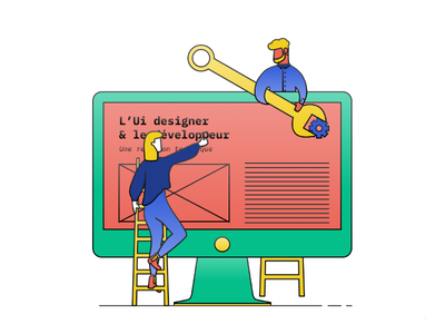 Illustration about relationship between Ui and Dev illustrator dev ui illustration