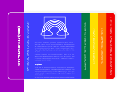 Fifty years of gay (pride) typography article illustration vector ui design web