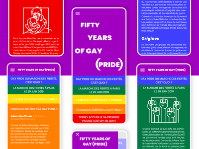 Fifty years of gay (pride) responsive colorfull pride gay article typography vector ui design web illustration
