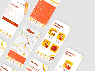A public transportation app dev application flat app icon colorfull branding vector adobe xd illustration design ux ui