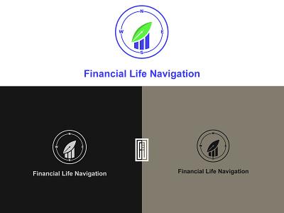 Financial life navigation logo design illustration branding design logo
