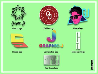 GJ 7 logo types illustration design branding logo