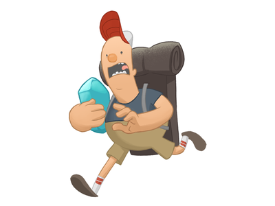 Good day for a hike expression character design running backpack digital illustration