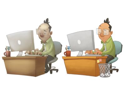 Old vs New desk computer work character design digital illustration