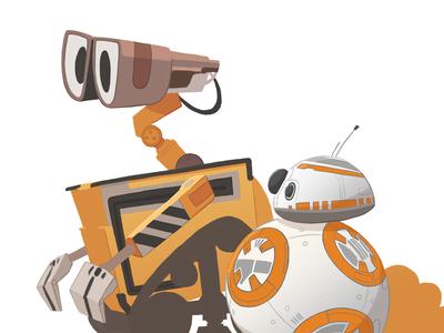 WIP mashup droid robot bb-8 star wars wall-e pixar disney illustration
