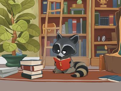 Reading Raccoon fun childrens illustration plants character design illustration books raccoon