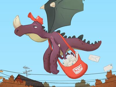 Monster Mail post flying mail monster illustration
