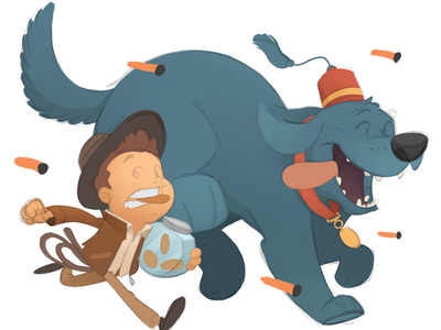 Young Indy with Sal cookies dog indiana jones illustration