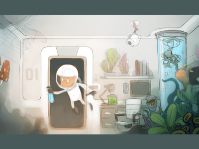 Space Botany - WIP sci-fi future plants botany astronaut space illustration